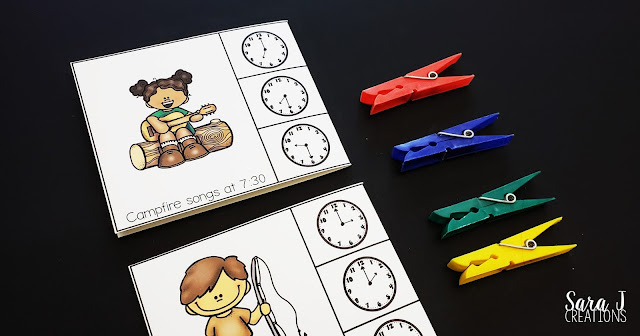 Make learning to read a clock and tell time to the half hour more fun with these FREE camping themed clip cards. Not only is this freebie great practice for children in first grade, but it also offers bonus fine motor practice as students open and close clothespins.