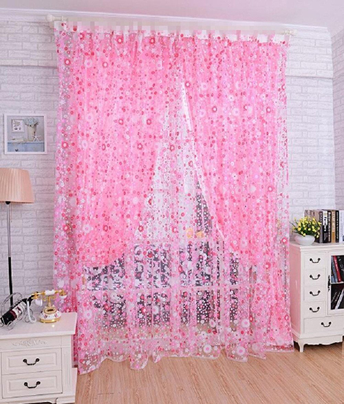 Pink Floral Bedroom Curtain