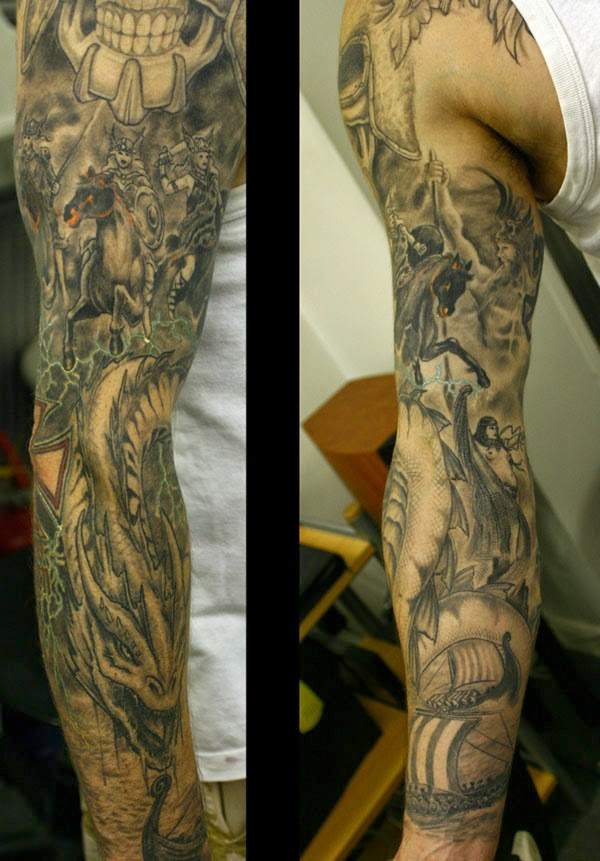 Valquírias e Vikings Tattoo Sleeve