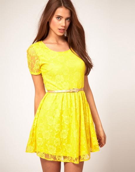 vestido casual amarillo con encaje
