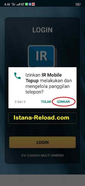 Izinkan IR Mobile Topup melakukan dan mengelola panggilan telepon