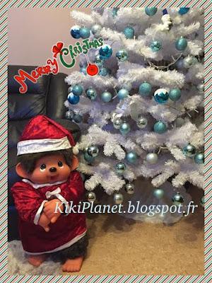 Robe de Noël et chapeau de Noël pour Monchhichi géant, 80 cm, toys, vintage, kiki, kiki le vrai, handmade, couture, fait main