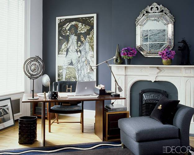 Grey Office via Elle Decor
