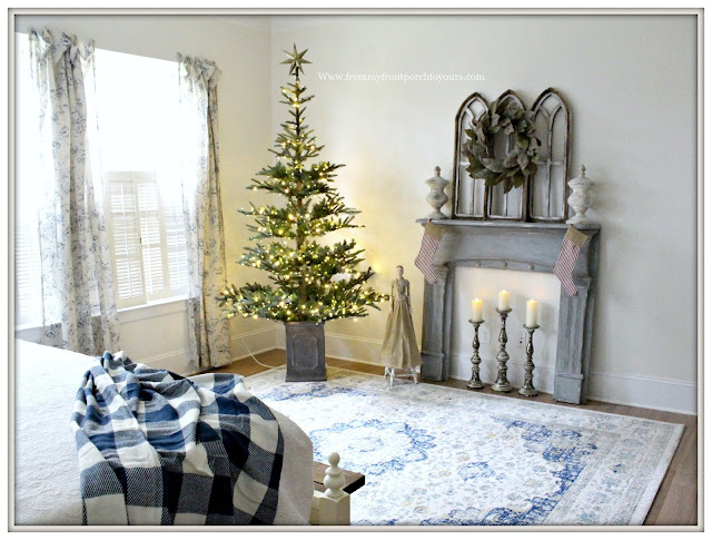 French Country Farmhouse Christmas Bedroom-French Farmhouse-Blue and White-Vintage Fireplace Mantel-Grandin Road Christmas Tree-From My Front Porch To Yours