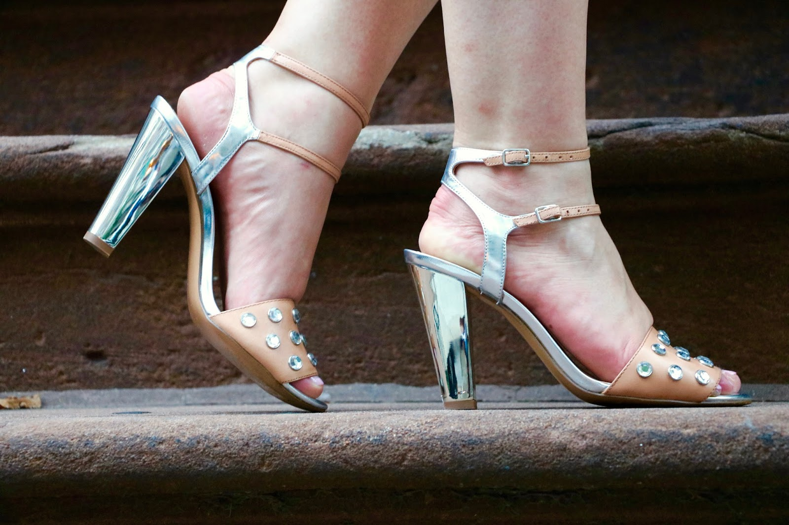 banana republic nude jeweled heels