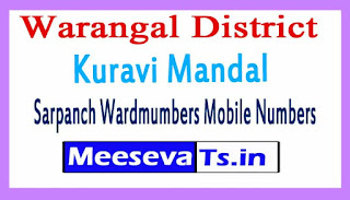 Kuravi Mandal Sarpanch Wardmumbers Mobile Numbers List Warangal District in Telangana State