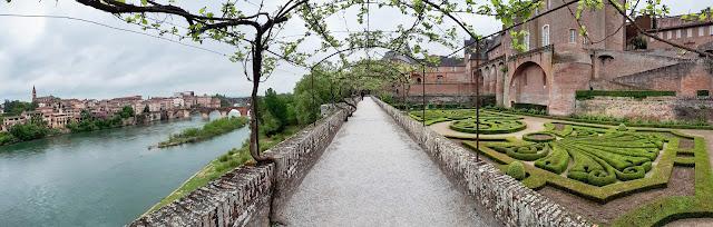 View over Tarn river and garden from Palais de la Berbie in Albi, Occitanie