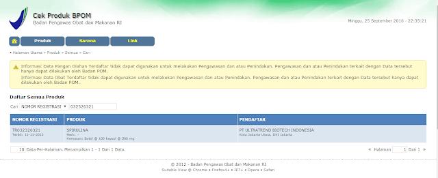 Nomor Registrasi BPOM Masker Spirulina Tiens