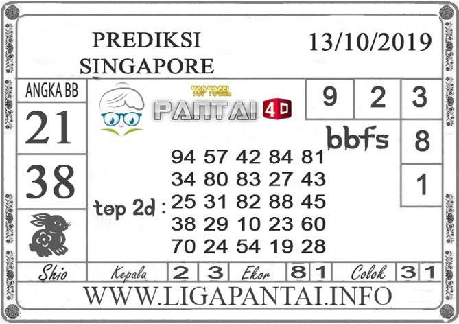 """PREDIKSI TOGEL """"SINGAPORE"""" PANTAI4D 13 OKTOBER 2019"""