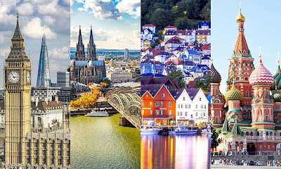 Cities, London, Cologne, Bergen, Moscow