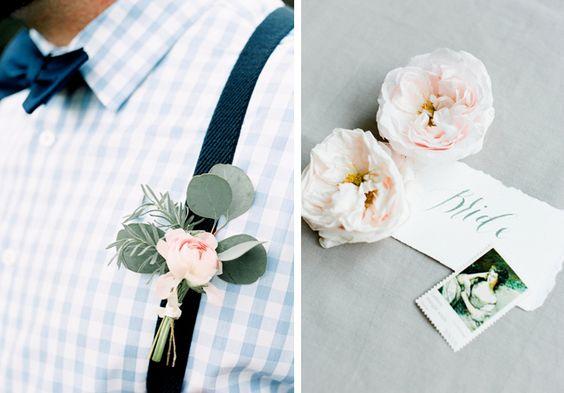 Prendido vegetal para novio con hojas de eucalipto y rosa