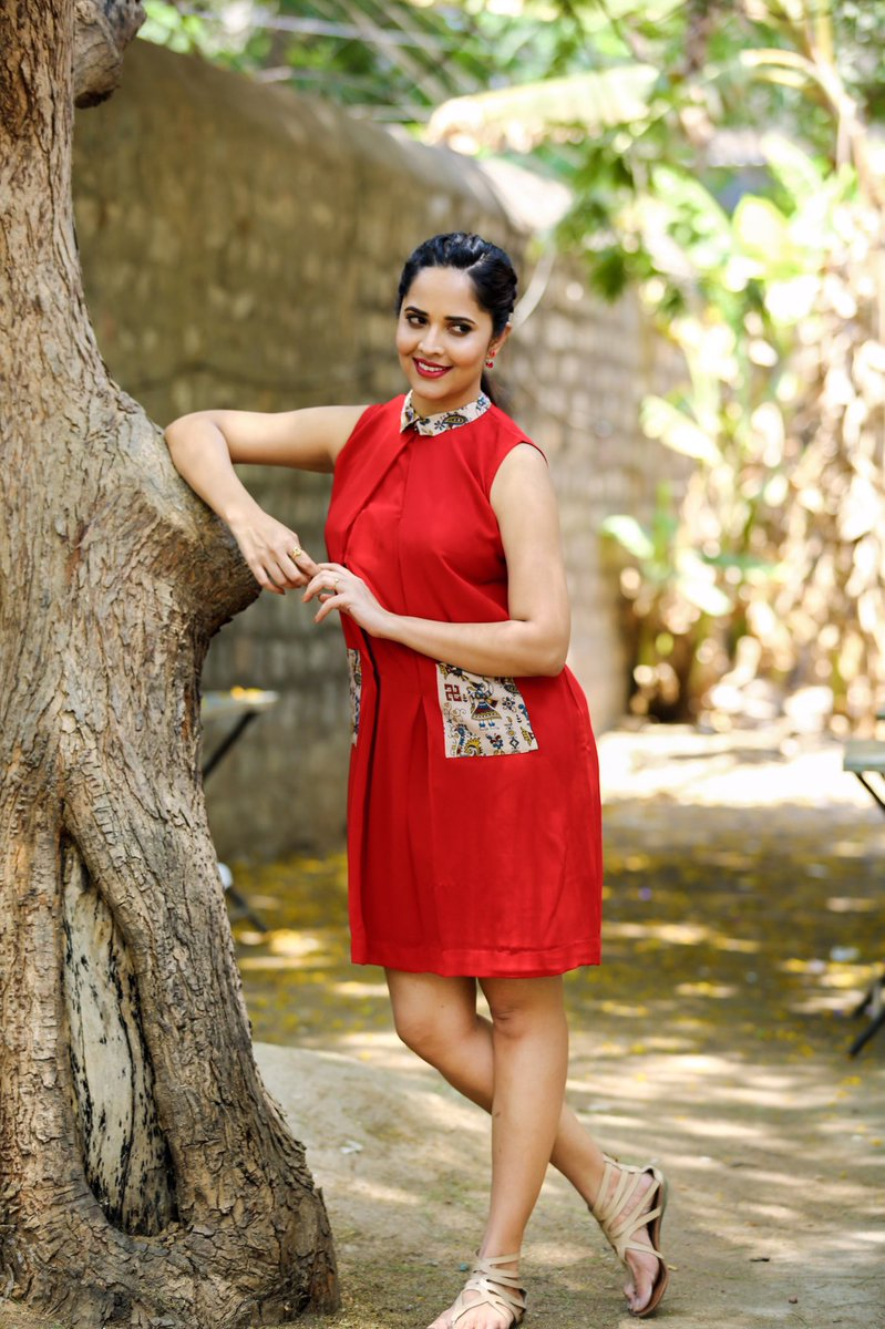 Actress Anasuya Latest Red Dress Hot Stills