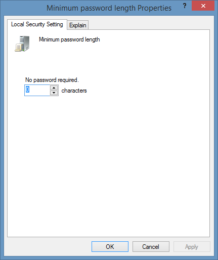 Minimum password length policy