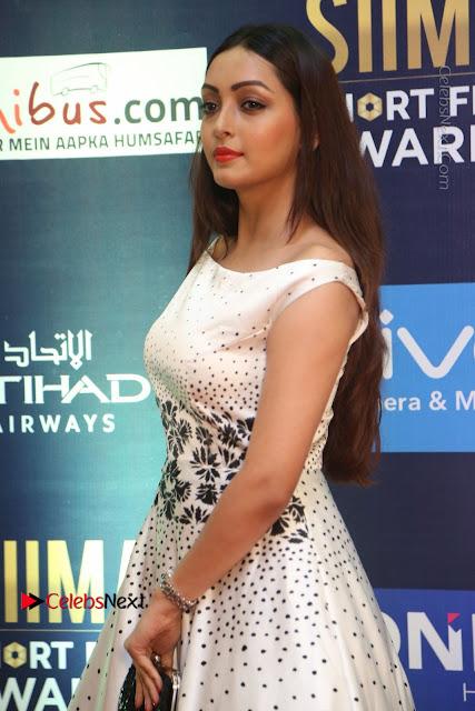 Actress Pooja Salvi Stills in White Dress at SIIMA Short Film Awards 2017  0007