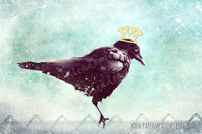 Nursery Crow Wall Art. King Crow. You can purchase and download our photography creations and instantly print at home from our Paper Meadows Photography Shop on ETSY. To Visit our shop now click here.