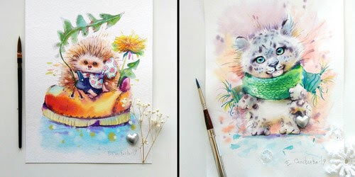 00-Evgeniya-Solovyova-Fantasy-Animals-Watercolor-Paintings-www-designstack-co