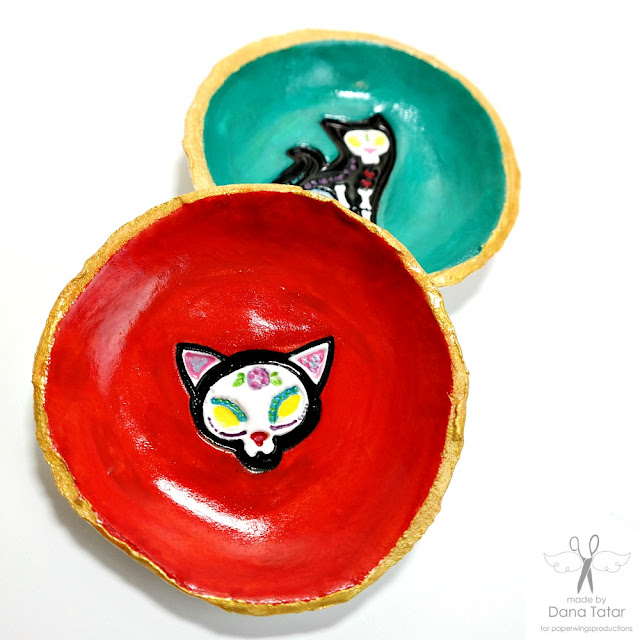 Day of the Dead Cat Stamped Clay Trinket Dish by Dana Tatar for Paper Wings Productions