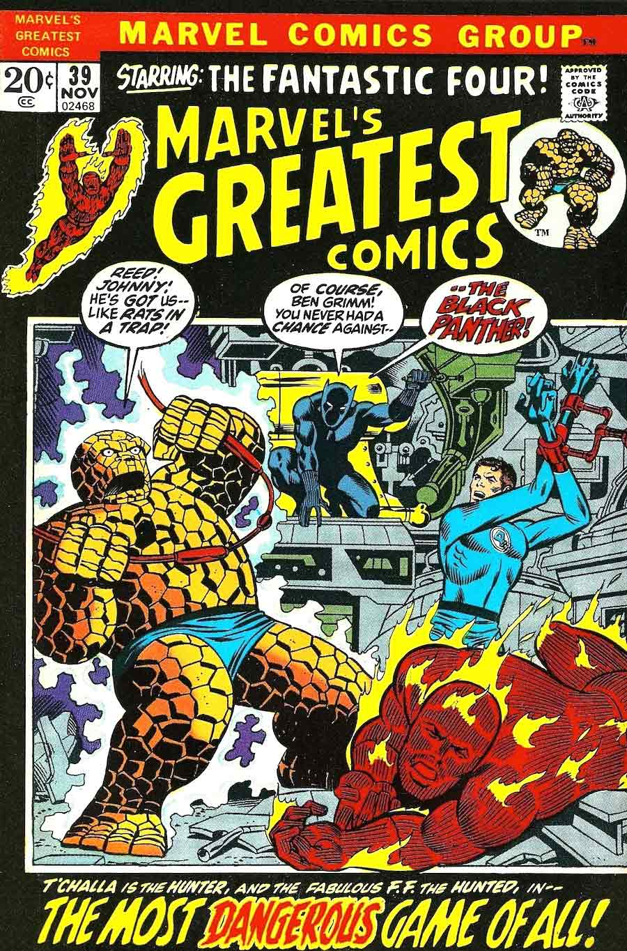 Marvel's Greatest Comics #39 bronze age 1970s marvel comic book cover art by Jim Starlin