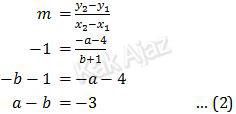 "Gradien garis melalui titik O(0,0) dan titik P""(−a − 4, b + 1) adalah −1"