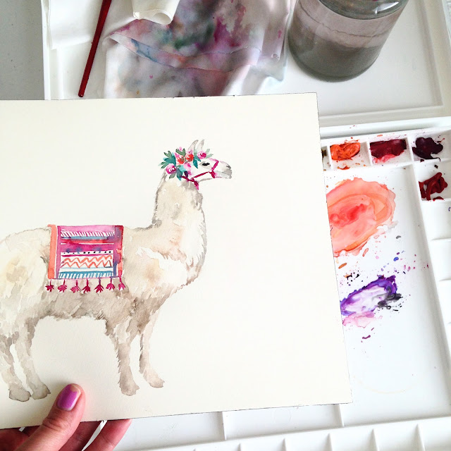 llama painting by Elise Engh