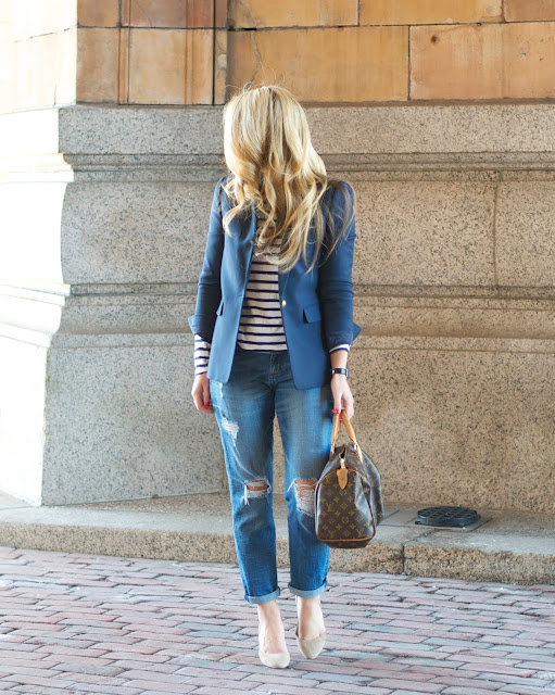 blue blazer, boyfriend denim, and breton stripes