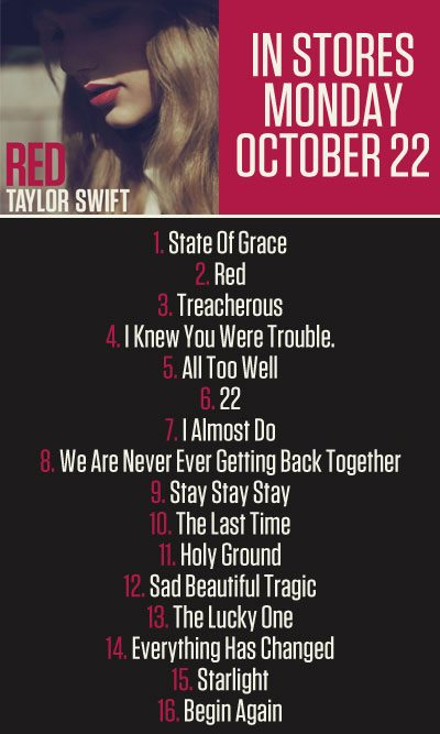 Red Album Track List Taylor Swift Songs