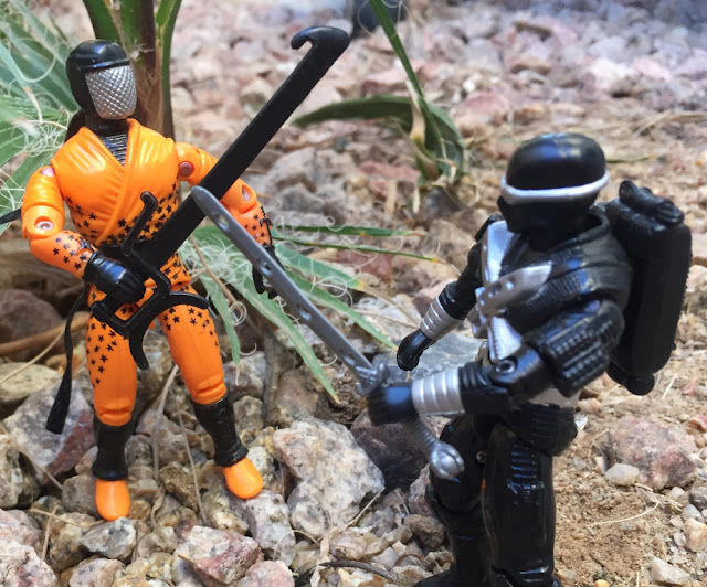 1993 Ninja Force Slice, 1989 Snake Eyes, 1988 Stormshadow