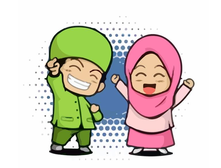 Kartun Anak Muslim Vector CDR AI | Guru Corel