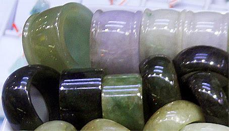 natural green wide jade rings