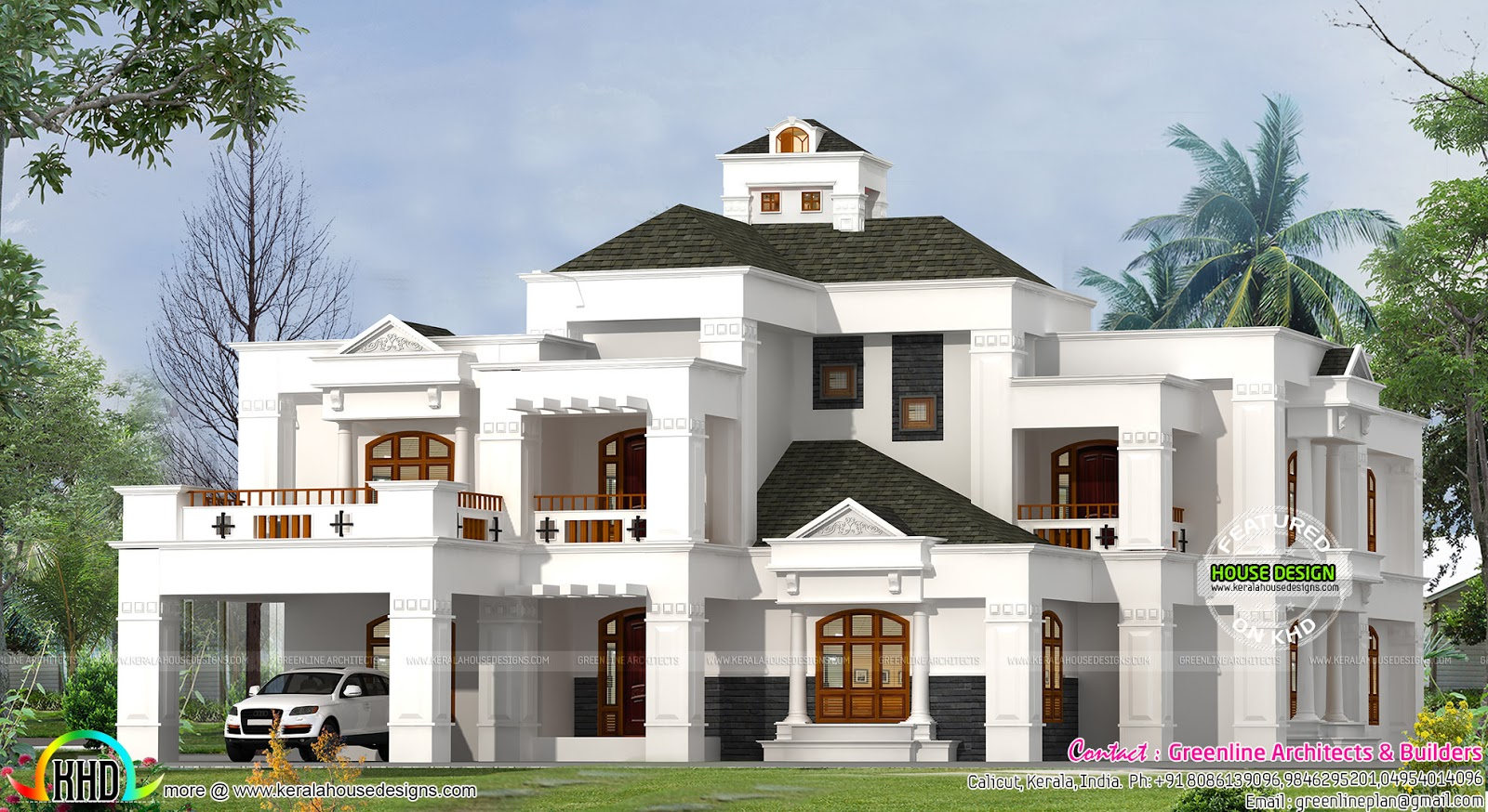 Luxury 4 bedroom villa kerala home design and floor plans for 4 bedroom villa designs