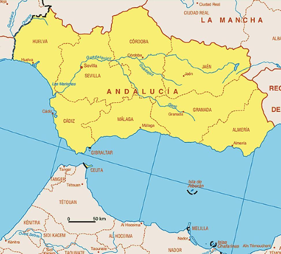 Kaart Spanje Vakantie Provincies Kaart Andalusie Spanje