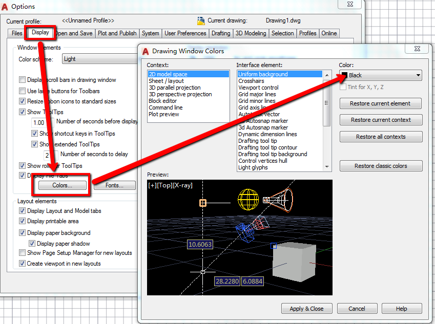 how to make window into model space autocad