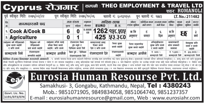 Europe Cyprus Jobs for Nepali, salary Rs 158,505