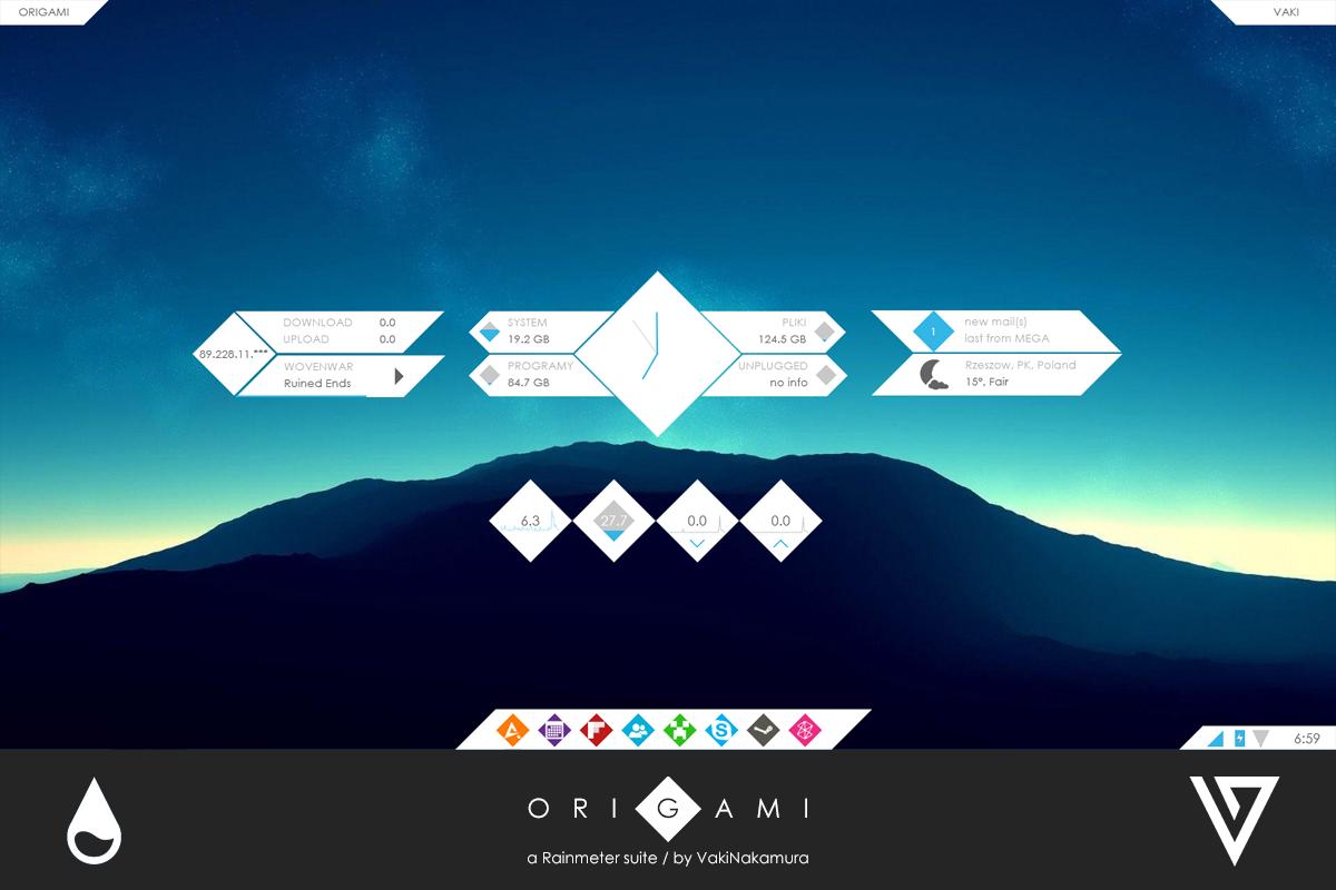 Origami Widget for Rainmeter - Cleodesktop I Customized Desktop