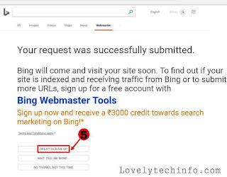 ब्लॉग को बिंग सर्च इंजन में कैसे Submit करें