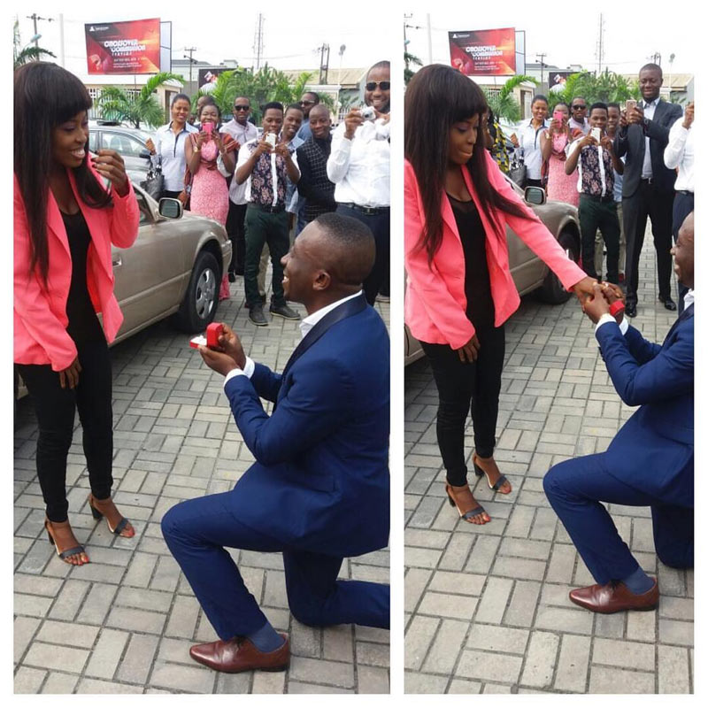 Aww! Man proposes to girlfriend after Sunday church in Port Harcourt.