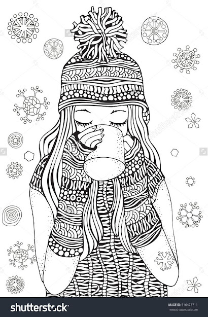 Winter Girl And Gifts Winter Snowflakes Adult Coloring Book Page  Handdrawn Vector