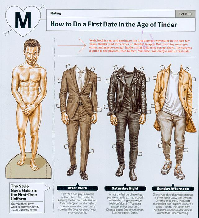 Cartoony Male Paper Doll In GQ Magazine