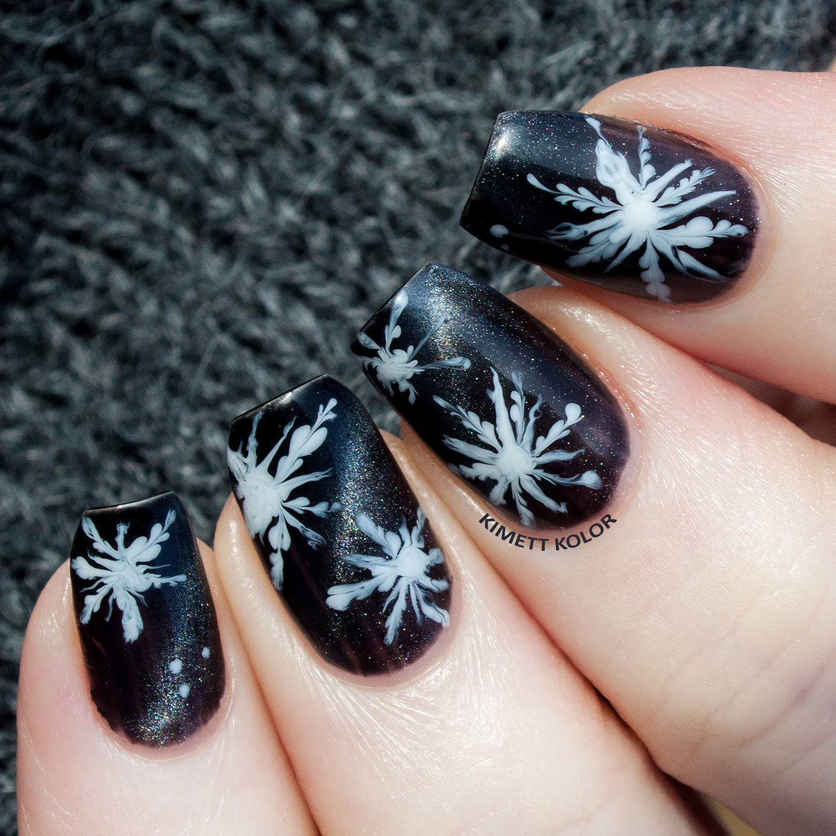 A Snowy Night - Drag Marble Nail Art Featuring Supernatural Power by ...
