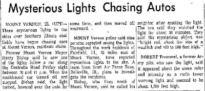Mysterious Lights Chasing Autos - Lowell Sun 8-11-1963