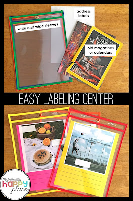 dry erase pockets, labeling pictures