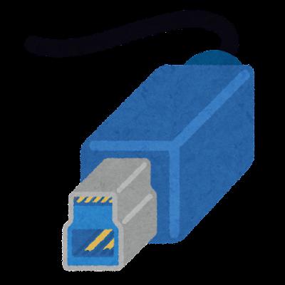 USB端子のイラスト(Type-B・USB3.0)