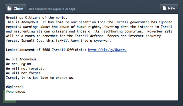 Anonymous leaks personal information of 5000 Israeli officials