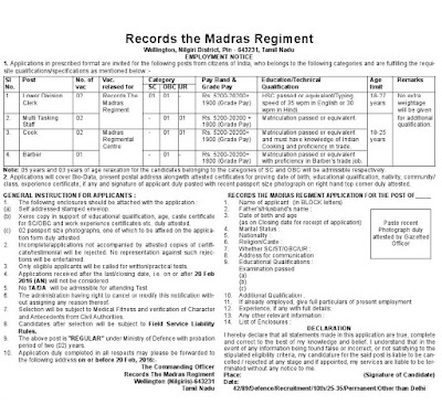 Madras regiment jobs application form