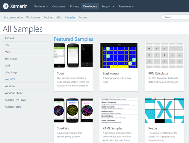Xamarin Samples