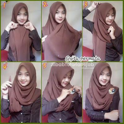 tutorial hijab segi empat menutup dada