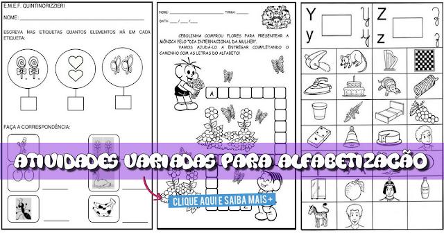 13 Atividades Variadas para Alfabetização prontas para imprimir e disponíveis para download em WORD.