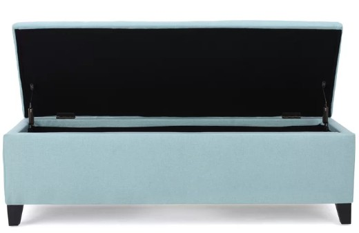 Light Beach Blue Storage Ottoman Bench