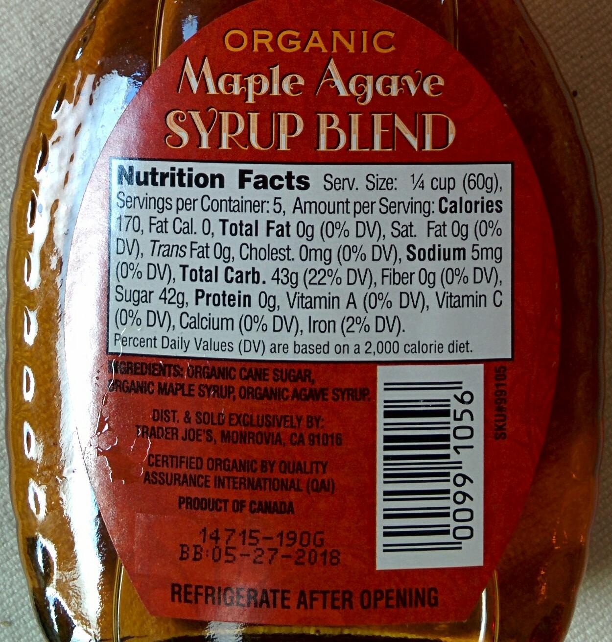Trader Joe S Nutrition Labels November 2015