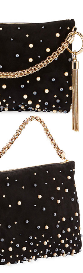 Jimmy Choo Callie Upe Pearly Shoulder Bag Black Mix
